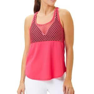 90 Degree Confetti Pink Mesh-Accent Keyhole Tank